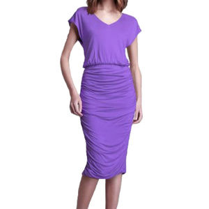 Alice + Olivia Purple Ruched Jersey Dress